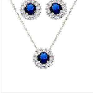 NEW SAVVY CIE blue sapphire &CZ earrings& necklace